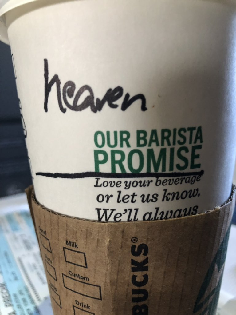 Starbucks at American Airlines terminal at JFK. I know she heard my name because she repeated it. Perhaps she knew I was headed to California and the Monterey Peninsula 👍🤔. #heavenonearth