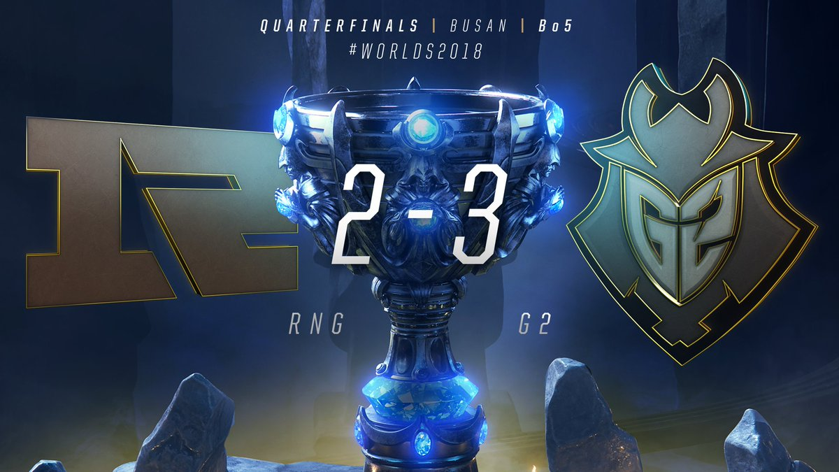 WHAT A SERIES!  @G2esports TAKE DOWN @RNGRoyal IN THE #WORLDS2018 QUARTERFINALS! #G2WIN