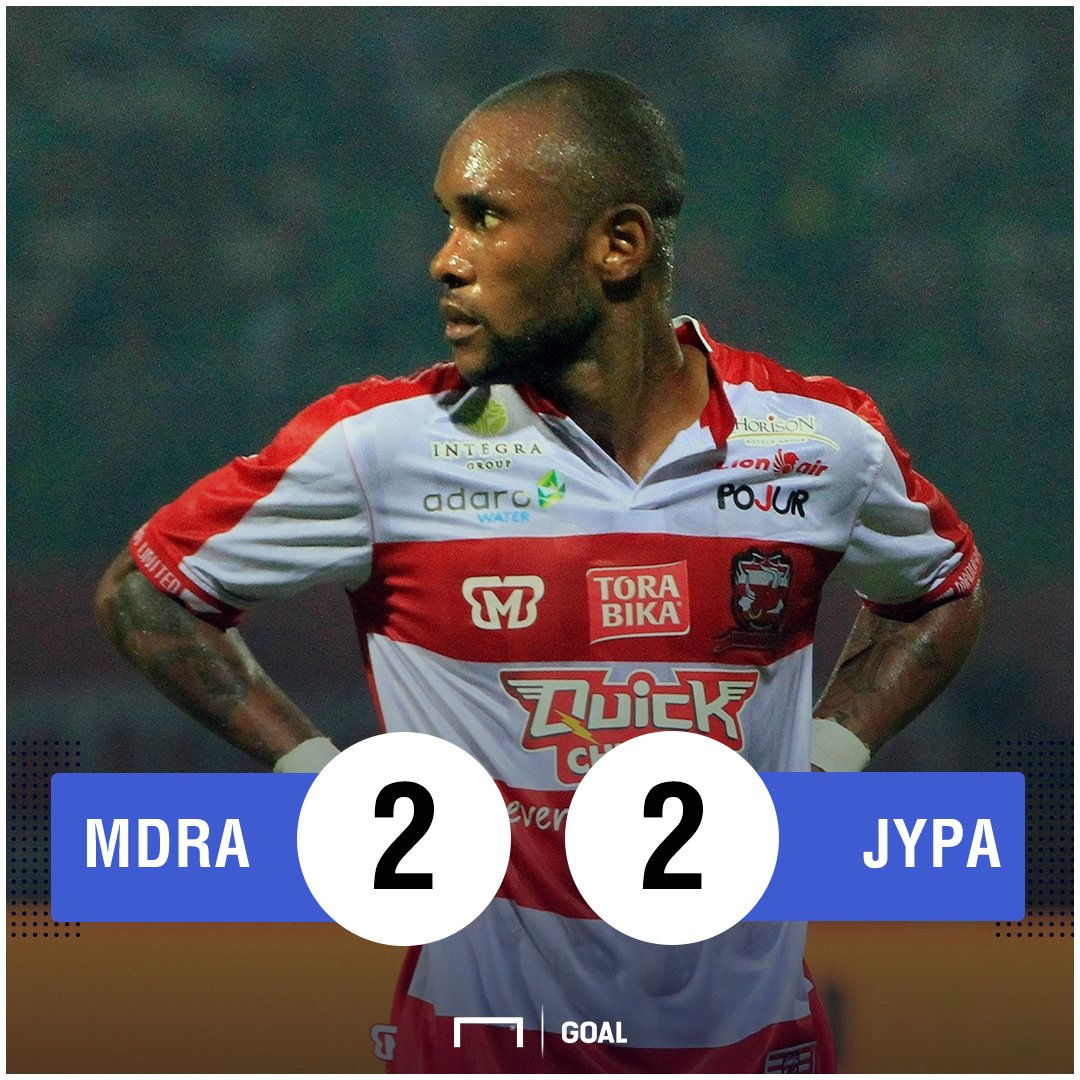 FT: Madura United 2-2 Persipura - https://t.co/o1XEwrJsTS #MDRAvJYPA #MatchdayGoal https://t.co/2w9bZ4KDIg