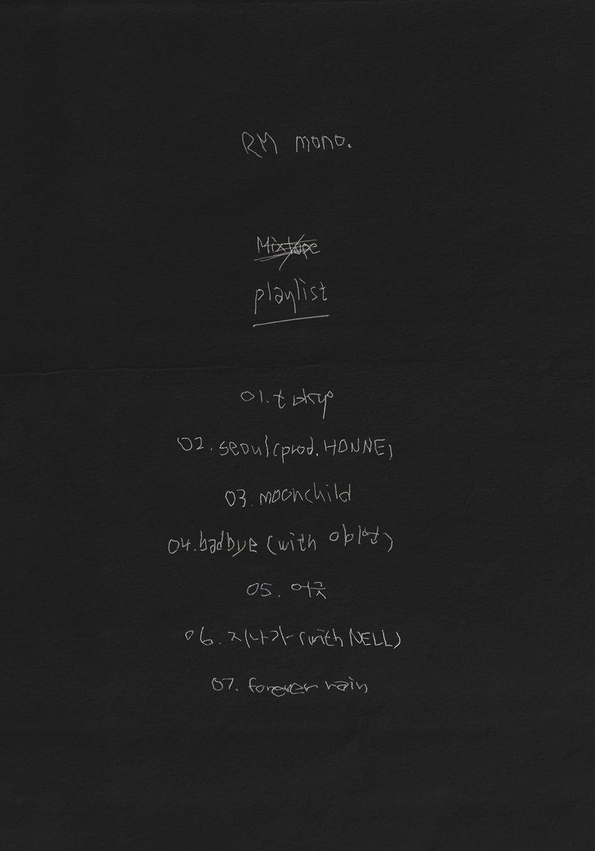 방탄소년단 On Twitter Rm S Playlist Mono 10 23