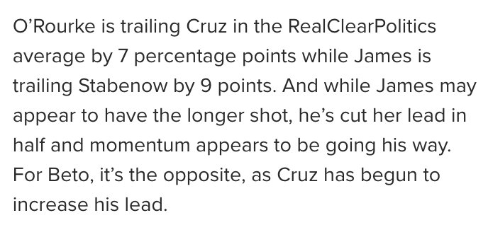 One of the more blatant examples of misdirection + cherry-picking I've seen here when citing polls. She makes it sound like James trails by only 9 in the RCP average. He does not—he trails by 9 in *one poll* (from a pollster with a D- rating). He trails by 16 in the RCP average.