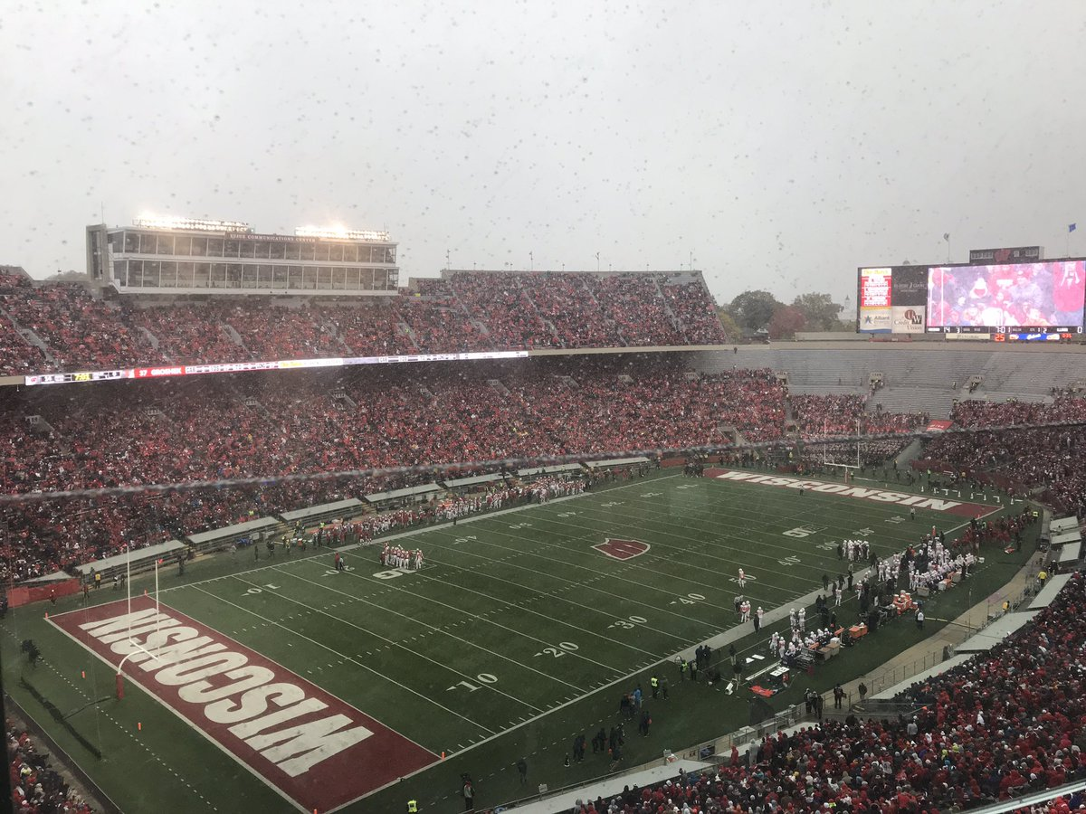 Welcome to Wisconsin! The people here are tough because it snows in the middle of October😲😲😂😂!! @UWBadgers