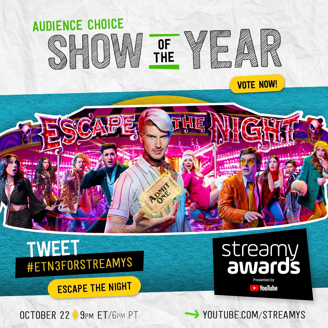 """THE TIME HAS COME...for you to VOTE! ✔️ We are nominated for """"SHOW OF THE YEAR"""" at the 2018 @streamys! Vote all day every day until 10/18 by using #ETN3ForStreamys & RT this tweet. Watch LIVE 10/22 on @YouTube! #streamys"""