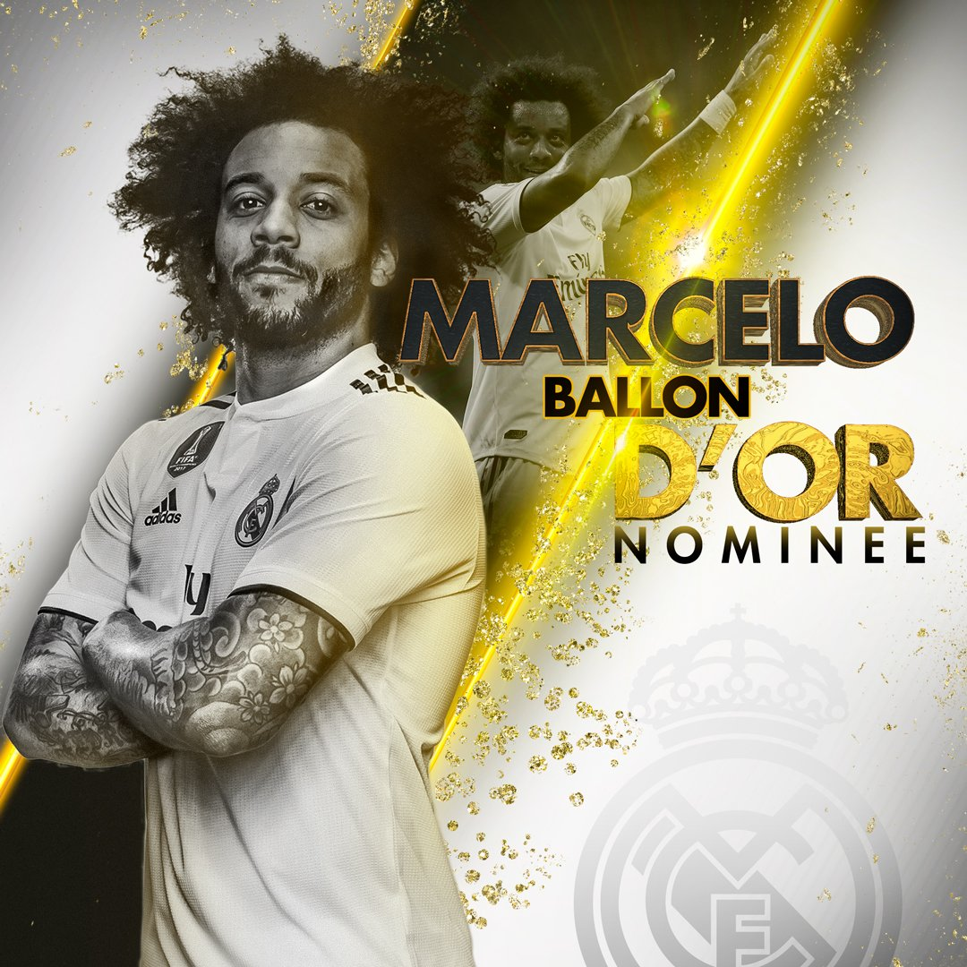 ⚽🏆 BALLON D'OR 2018 NOMINEE 🇧🇷 @MarceloM12 👏 #HalaMadrid | #ballondor