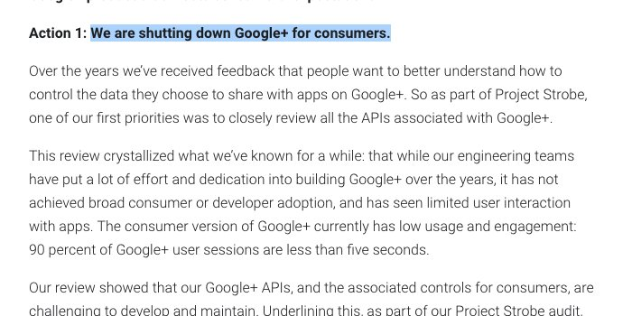 #BREAKING  Google just killed Google+  https://t.co/lvnM5R17VM