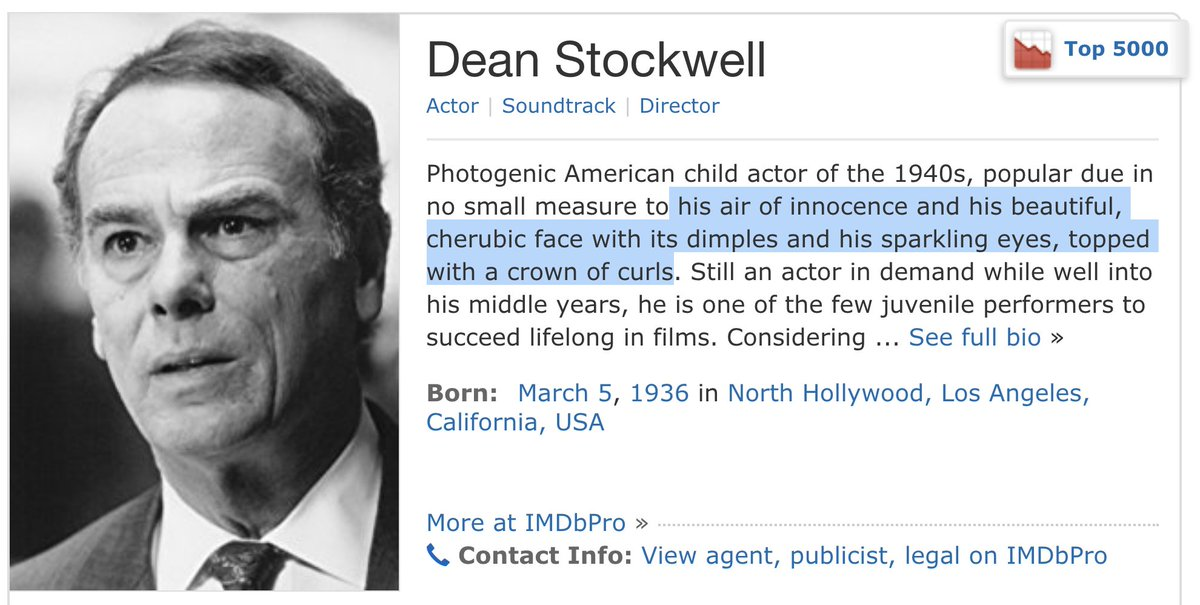 Just FYI the Internet Movie Database is real horny for Dean Stockwell