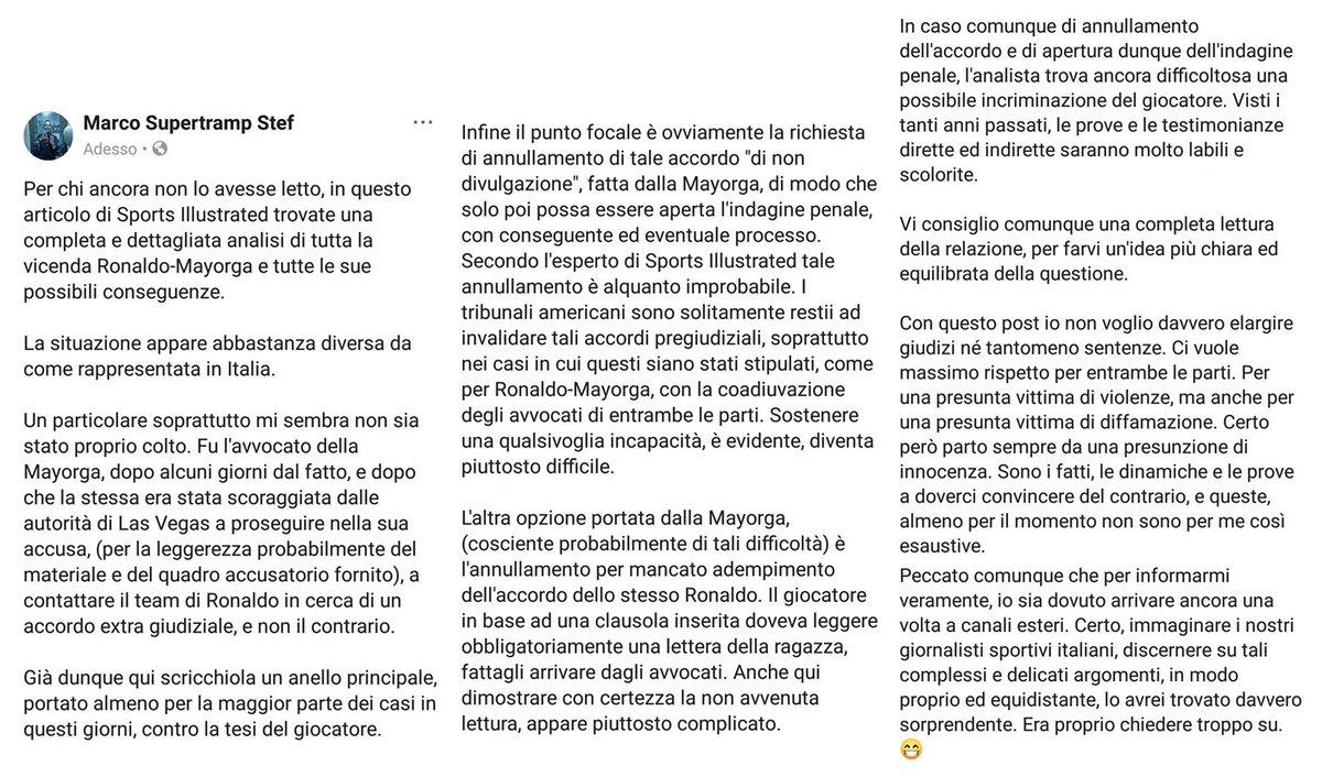 Ad oggi trovo ancora che sia l'articolo più dettagliato e completa sulla questione #Ronaldo. Con l'analista di Sports Illustrated che traccia le dinamiche e le possibili conseguenze.  In Italia, in trovo ancora ci sia molta confusione sui fatti. 👇 https://www.si.com/soccer/2018/10/02/cristiano-ronaldo-rape-allegations-kathryn-mayorga-legal-case…