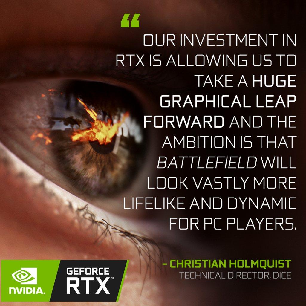 Bring the battlefield to life. GeForce RTX + @Battlefield V. 💚