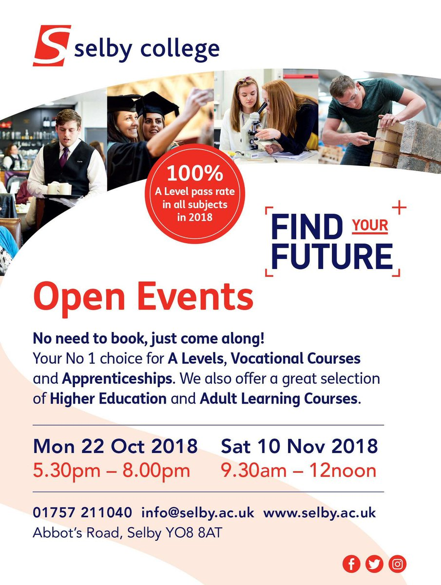Don't miss out 📢 Come along and find out why we should be your 1️⃣ at one of our Autumn Open Events 🍂🍁 Everyone is welcome to explore our fantastic campus! Speak to our staff and students and check out our amazing facilities 👋🏻 #alevels #vocational #apprenticeships