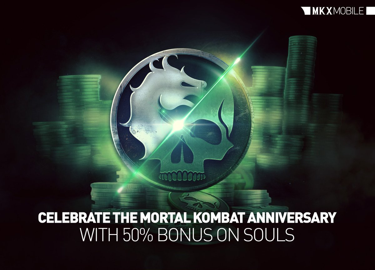 Celebrate the Mortal Kombat Anniversary and get 50% more souls now in #MKXMobile!