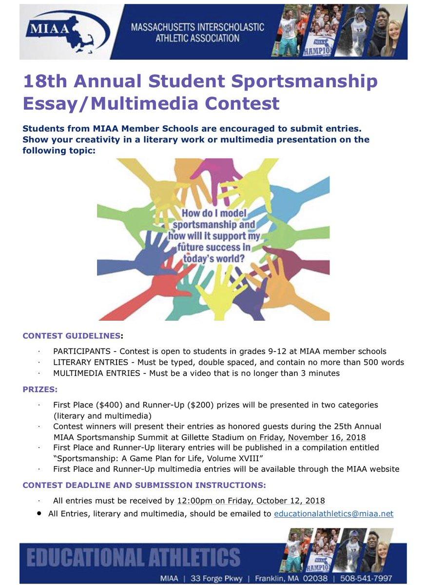 miaa sportsmanship essay contest