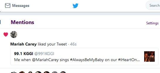 991 KGGI On Twitter OMG MariahCarey Just Liked My Last Tweet
