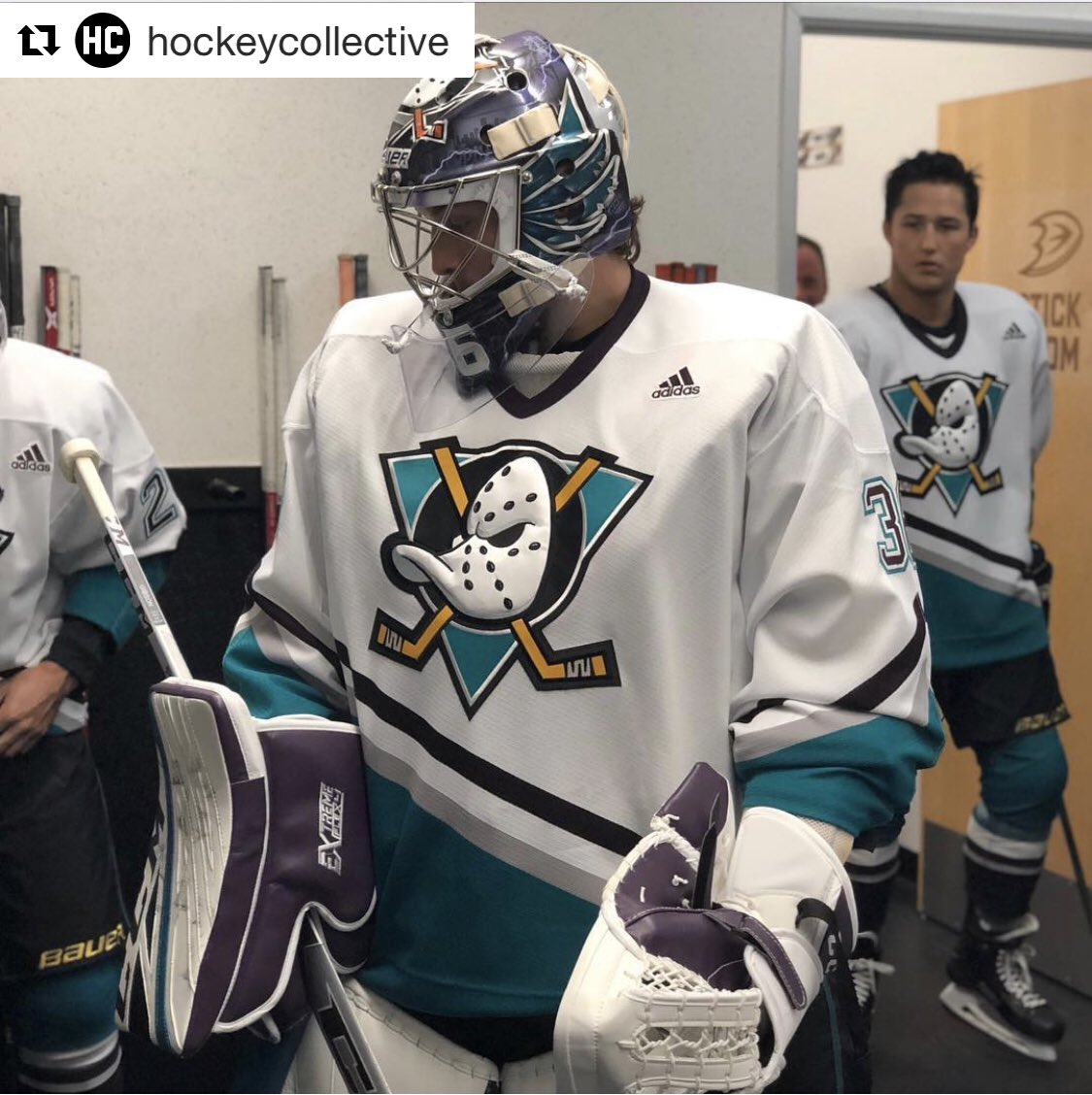 a94056f51af The Ducks wore 1993 throwback jerseys during pregame warmups last night. As  you can see, the jerseys had the Adidas logo on the front (from Nick  Terranova).