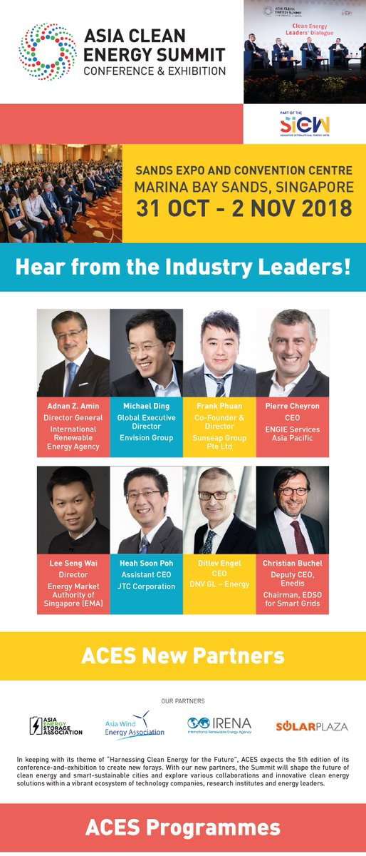 Hear from the Industry Leader!The Asia Clean Energy Summit 2018 is part of the Singapore International Energy Week 2018. Register here now(https://t.co/qxT0a58zH3 ) to join  the Asia Clean Energy Summit 2018! https://t.co/NzFzfCG1jz