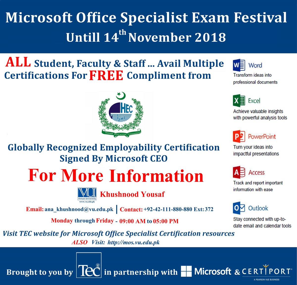 Virtual University On Twitter Earn Microsoft Office Specialist