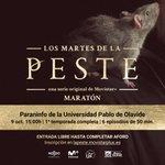 OJO 👀 Esta tarde hay planazo en #Sevilla. Maratón de #LaPeste en @pablodeolavide con la presencia de @RCobosLp y @PabloMolinero77 🙌 ¡La entrada es libre! Os esperamos 🐀🐀🐀