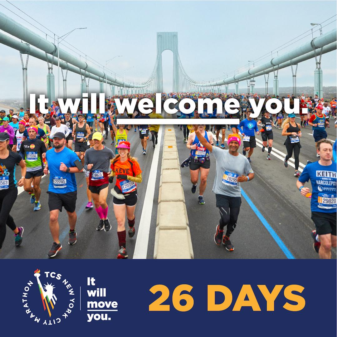 2️⃣6️⃣ days away from running 26.2 amazing miles through the 5️⃣ boroughs of New York City, the biggest marathon in the world will welcome you. Thousands of runners from around the globe 🌎 will come to NYC and take on the #TCSNYCMarathon. Where are you coming from? ✈️