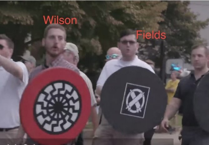 They stood next to each other in Charlottesville.  Taylor Wilson, recently sentenced to prison for armed takeover of a train he wanted to &quot;save&quot; from &quot;black people.&quot;   And James Alex Fields, who drove his car into anti-racist protesters in Charlottesville, killing Heather Heyer. <br>http://pic.twitter.com/N8jGQiClw8