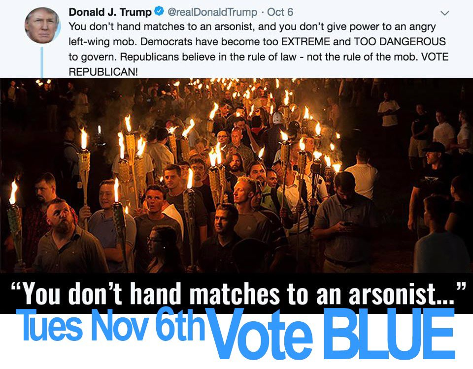 """Sir, I am old enough to remember when you praised the angry mob in Charlottesville in 2017 who were yelling """"blood and soil"""" and """"Jews will not replace us"""" and whose members violently attacked many and killed Heather Heyer. #VoteBlue<br>http://pic.twitter.com/pdSebrQ428"""