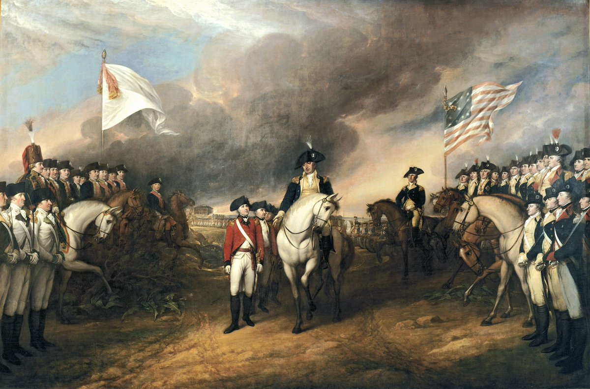 #OTD in 1781, British forces at Yorktown, VA surrender after a weeks-long siege by Continental and French armies, ending the last major land battle of the Revolutionary War in a decisive American victory  PC: Trumbull, Surrender of Lord Cornwallis at Yorktown, 1819/20