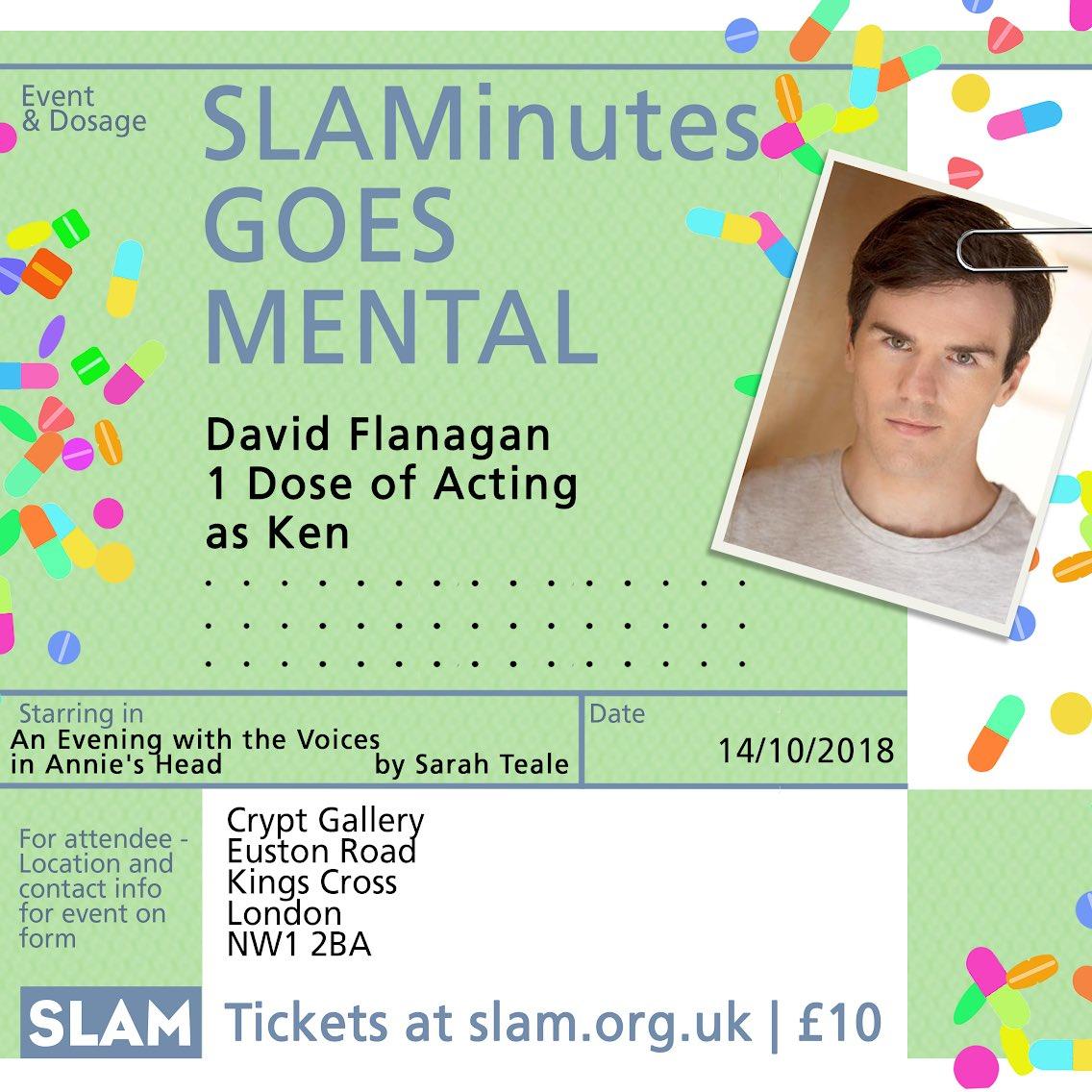 🤩The amazing cast for #SLAMinutes goes #mental ...🤩⠀ .⠀ Starring the blummin brilliant @DavidGFlanagan  .⠀ 14th October ⠀ TICKETS https://buff.ly/2OOjAO8⠀ .⠀ #slamkings #mentalhealth #mentalhealthawareness #acting #actorslife #monologue #performance #stage #newwriting