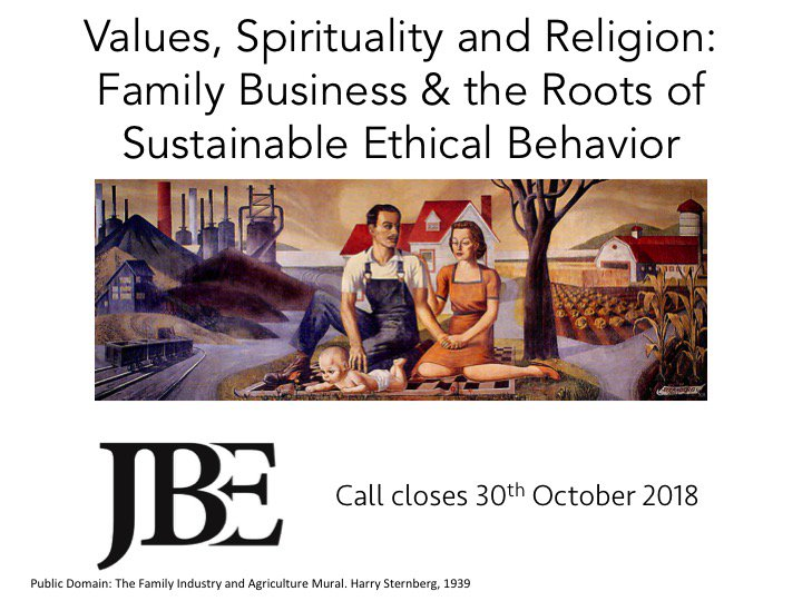 J Business Ethics On Twitter Si Cfp Values Spirituality And Religion Family Business And The Roots Of Sustainable Ethical Behavior Call Closes End Of October Get More Details Here Https T Co Ahta69klbp