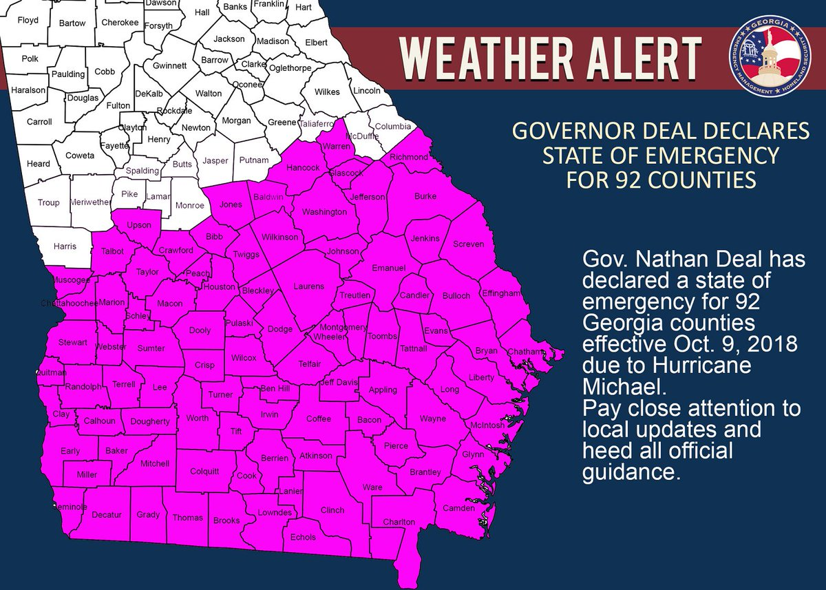 BREAKING: Georgia Governor Nathan Deal declares state kf emergency for 92 counties ahead of #HurricaneMichael @wsbtv