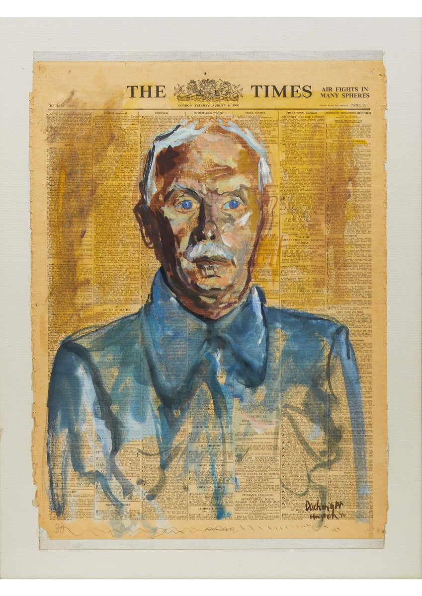 @BenUriGallery curator Rachel Dickson highlighting the importance of family and memory with Portrait of a Man: Wilhelm Hollitscher (Huyton Internment Camp, Liverpool), 1940 by Hugo Dachinger, as presented at @UBPnetwork annual seminar, @NPGLondon