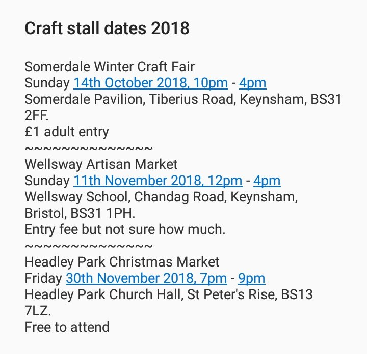 Hoshi Made This On Twitter Here Are My Craft Stall Dates For The