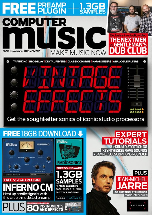 Issue 262 of Computer Music mag is on sale now! Vintage Effects special, @jeanmicheljarre interviewed, @thenextmen vs @Gentlemansdub in-studio video, free VST/AU preamp from @GlassShattering, 2 sample packs and more! Get the mag: http://bit.ly/CM262