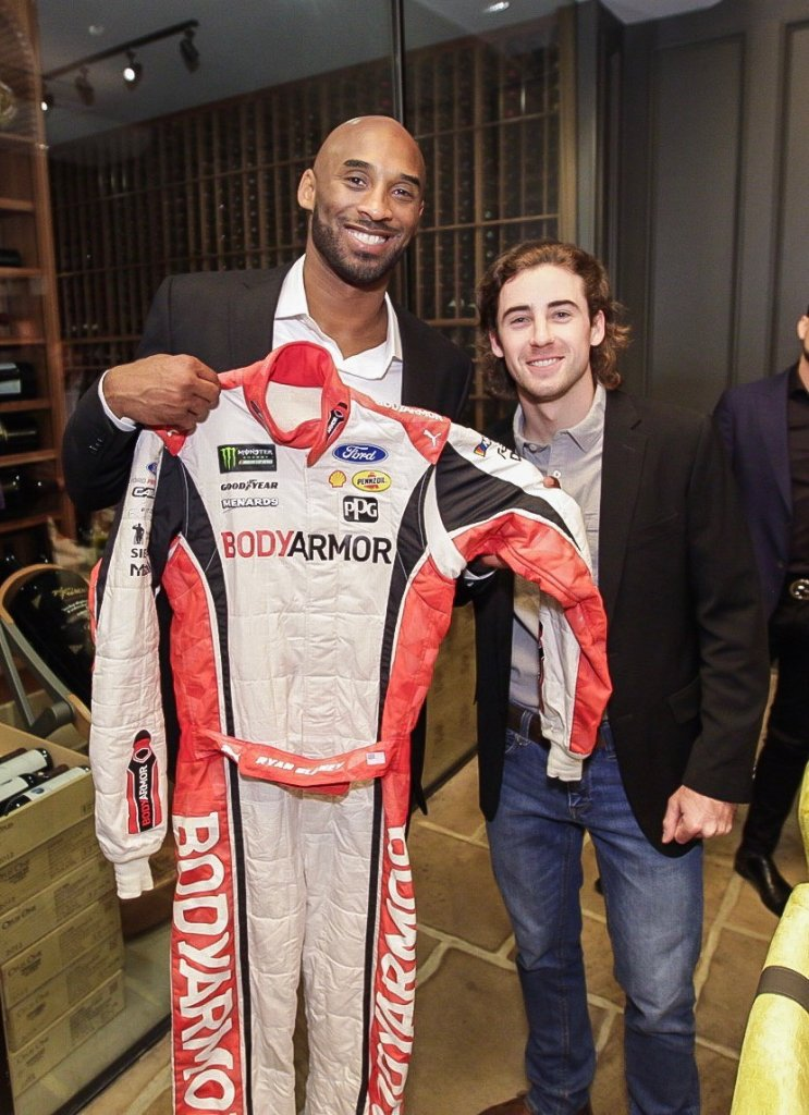 .@Blaneys @IMS firesuit has a new home! Take good care of it, @kobebryant. 💪