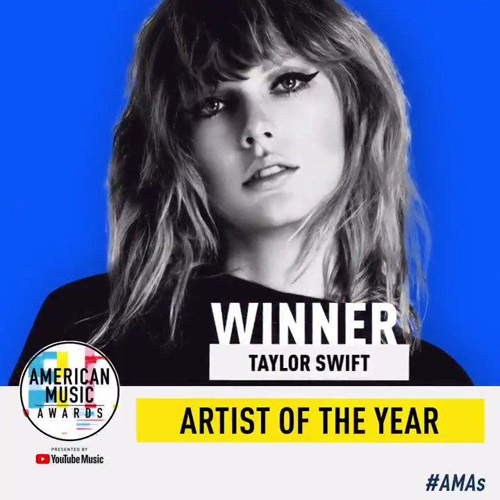 She has a BIG reputation and she had a HUGE year. @taylorswift13 is your #AMAs Artist of the Year! #TaylorSwiftAMAs https://t.co/m7r4j9csKm