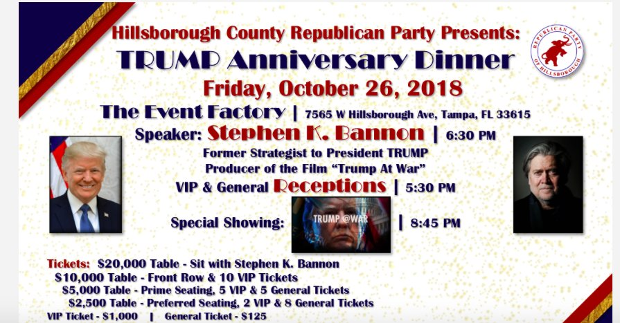 Hillsborough County Republican Party officially announces ticket availability for  Steve Bannon fundraising dinner set for Oct. 26 - Only $20,000 to sit at table with Bannon.  #FlaPol<br>http://pic.twitter.com/VbQYz6U06O
