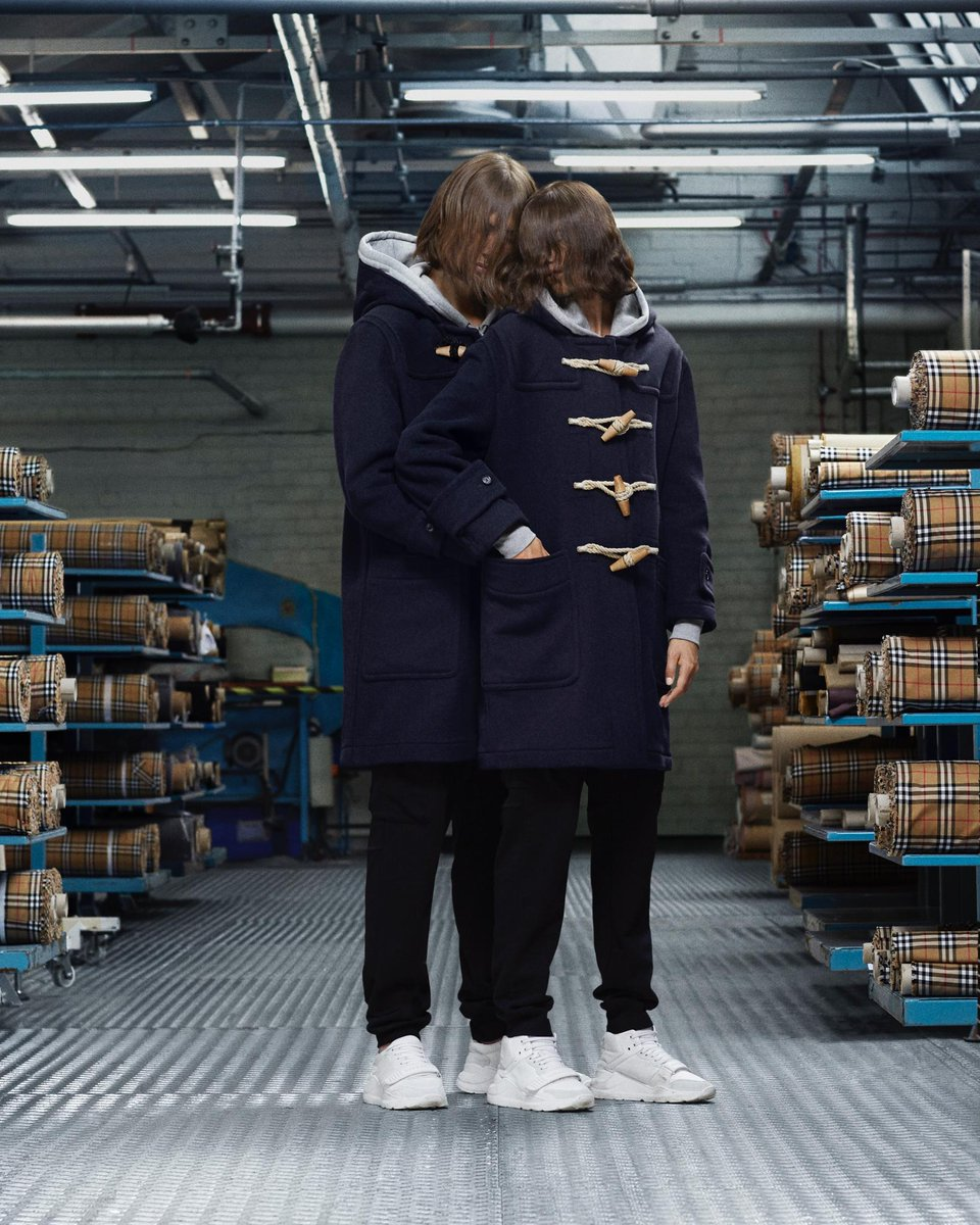 Luke and India wear the hooded duffle coat in navy. New @Burberry outerwear captured in Castleford, England brby.co/79e
