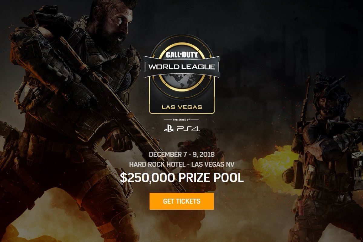 Tickets for the first #CWLPS4 #BlackOps4 event of the season are selling at RECORD pace! You do NOT want to miss this one; get your passes while they're still available  🏟 - @HardRockHotelLV 📅 - December 7-9, 2018 💰 - $250,000 🎫 info→ https://t.co/nrkHG7IOmf
