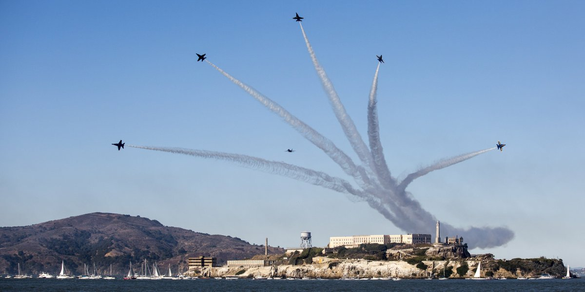 Angels Over Alcatraz The @BlueAngels fly over Alcatraz Island during the San Francisco Fleet Week Air Show.