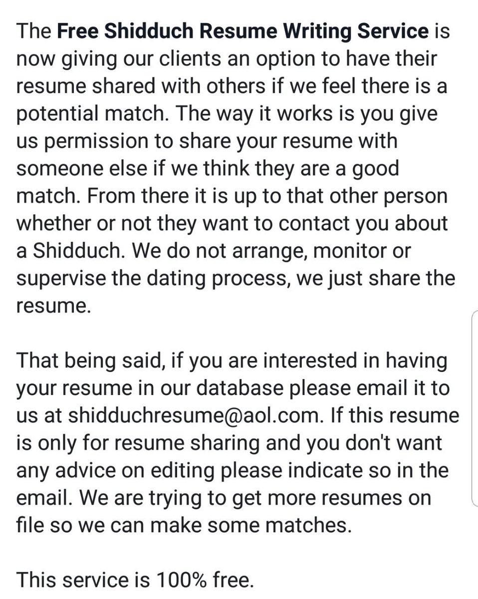 Free Shidduch Resume Writing Service Shidduchresume Twitter