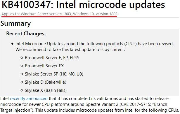 Kb4100347 intel microcode updates