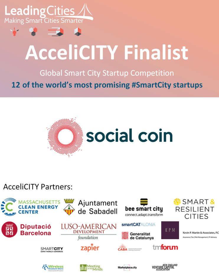 @Thesocialcoin is one of @LeadingCities#AcceliCITY Finalists-- one of the top 12 #SmartCity #startups in the world.  Social Coin fuels social responsibility with AI qualitative language analytics. Learn more at https://t.co/N1XGcKVuSA https://t.co/ZQwXwhT4C0
