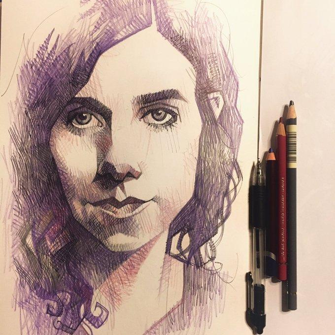 Happy birthday, PJ Harvey. Ballpoint and colour pencil.
