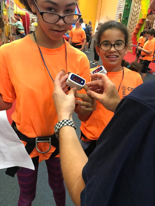 Central MS STEM 7 students analyze body systems at work using pulse oximeters at Climbzone! #AACPSAwesome Photo