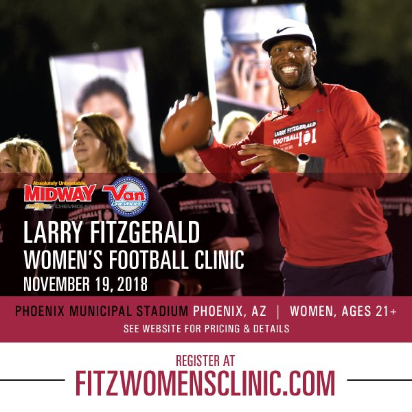 Excited to announce my 2nd Annual @MidwayChevy & @VanChevrolet Womens Football Clinic this November at Phoenix Municipal Stadium! Click below for details & to sign up: procamps.com/fitzwomensclin…