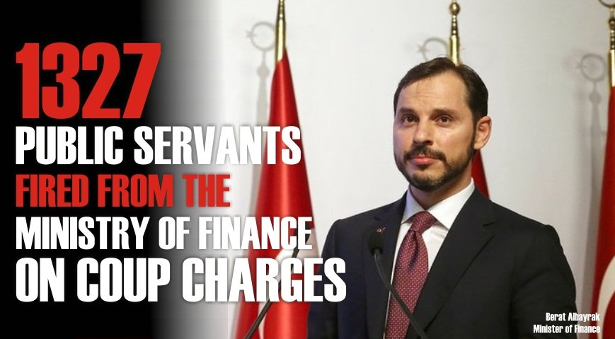 Did you know that since a coup attempt on July 15, 2016, a total of 1327 public servants have been fired from the Ministry of Finance  on coup charges? @BeratAlbayrak   See the long list of  public servants victimized by Turkey's purge &gt;&gt;  https:// turkeypurge.com/purge-in-numbe rs-2 &nbsp; … <br>http://pic.twitter.com/4gzW70E57M