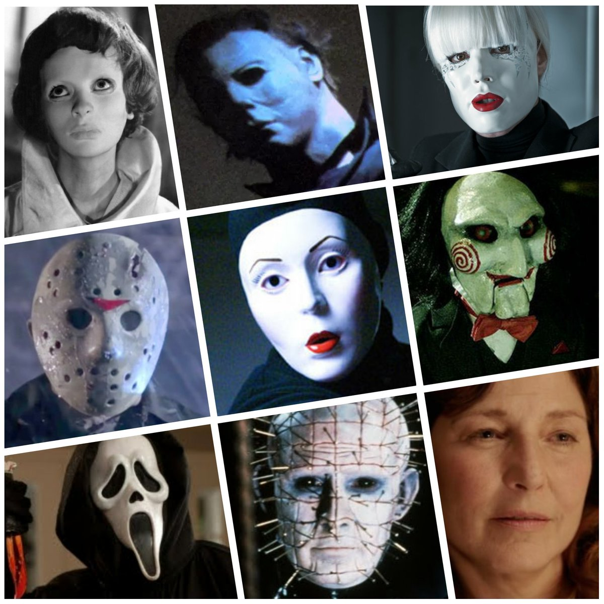 There&#39;s something about a white face that makes a scary story scarier: EYES WITHOUT A FACE, HALLOWEEN, PASSION, FRIDAY THE 13TH, NIP/TUCK, SAW, SCREAM, HELLRAISER, and GET OUT. <br>http://pic.twitter.com/UgrftSjoe6