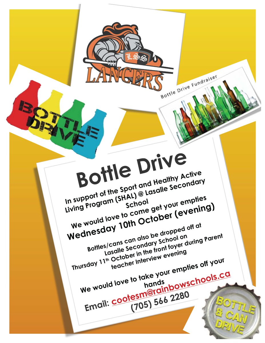 16f372d49f Help support our SHAL program by donating your empty cans and bottles.  Parents can also drop them off to the school on Thurs Oct 11th at Parent  Teacher ...