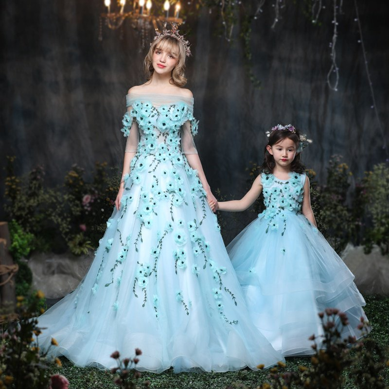 Cuddle Cuddly Mommy And Me Mother Daughter Wedding Dress Clothes Baby Maxi Dresses Family Princess Party Clothing Mom