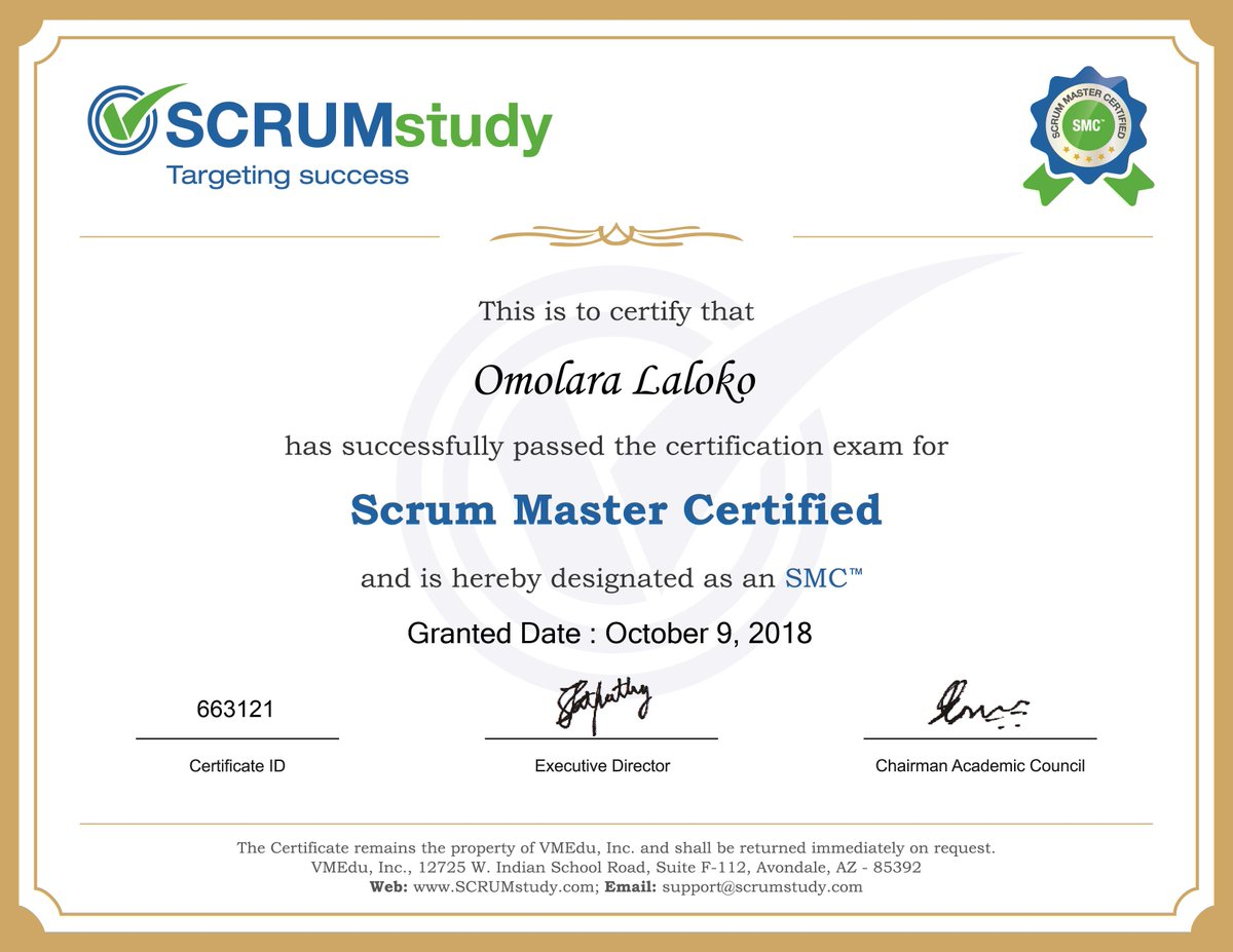 Scrumstudy On Twitter Congratulations Omolara Nigeria For Getting