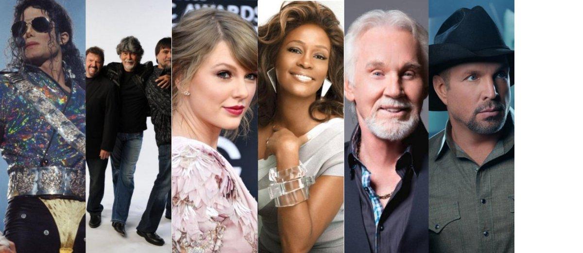 The most awarded artists at the American Music Awards #AMAs  1. Michael Jackson - 24 2. Alabama - 23 2. Taylor Swift - 23 3. Whitney Houston - 21 4. Kenny Rogers - 19 5. Garth Brooks - 17 <br>http://pic.twitter.com/KFLSnE2V3G