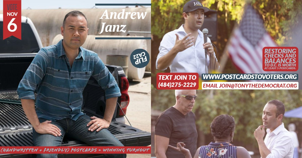 Feeling as if checks and balances in D.C. have eroded? You can do something about it: #PostcardsToVoters  Help Andrew Janz defeat Devin Nunes. Write to 5 Dem voters and boost winning turnout in CA-22 this Nov 6.  Text JOIN to (484) 275-2229 or email: Join@TonyTheDemocrat.org <br>http://pic.twitter.com/VxyxzMXfeQ
