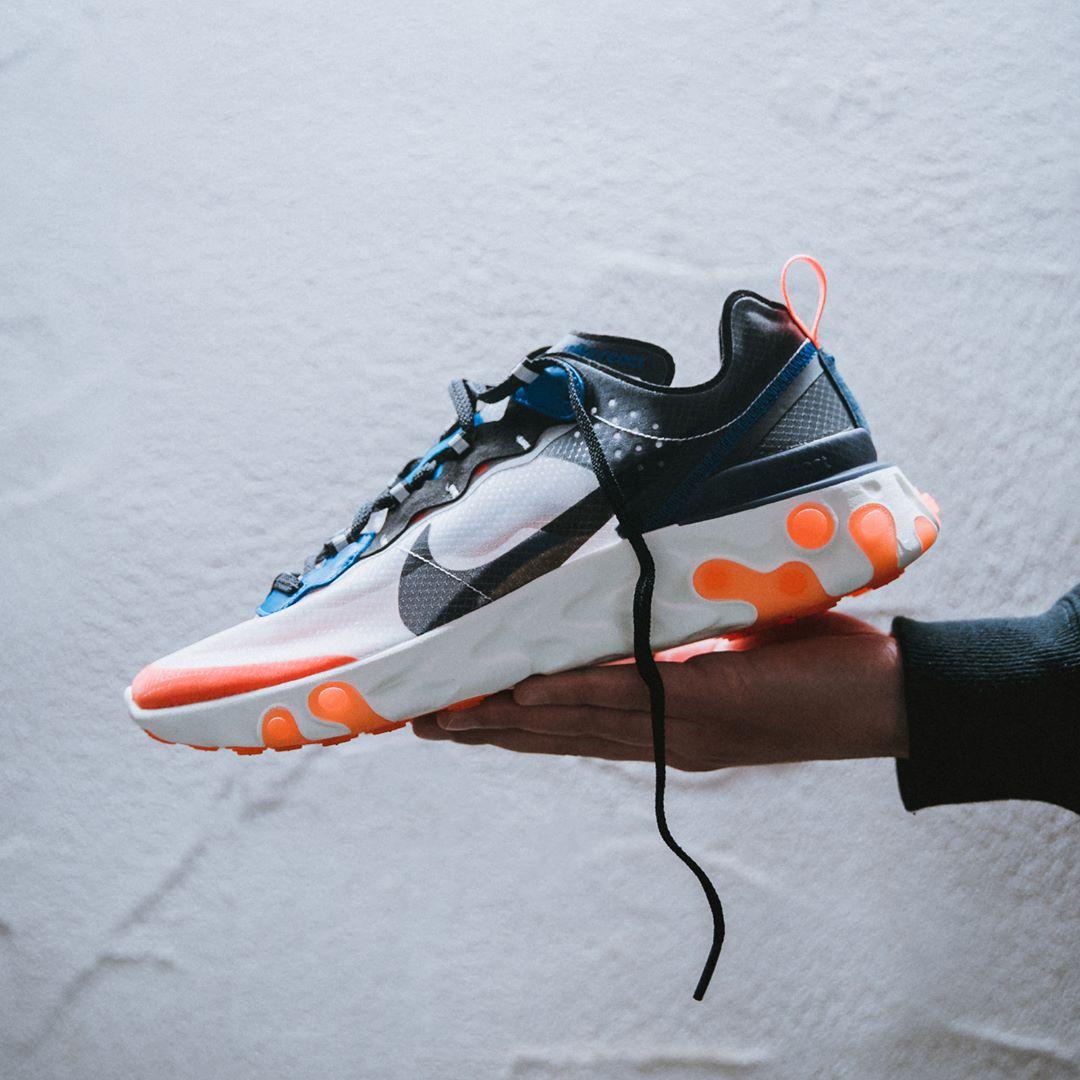 40e6763ac802 ... 2018 Nike React Element 87 Total Orange   Thunder Blue  http   isds.co sc AQ1090-004 Credit   Solebox —  nike  react  sneakerhead   sneakersaddict ...